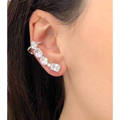 Brinco Ear cuff Classico Prata925 com ouro18k e rodio