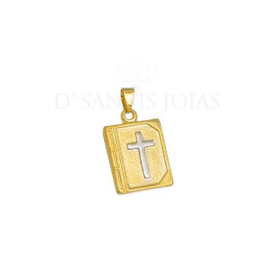 Pingente Biblia com Cruz Ouro18k