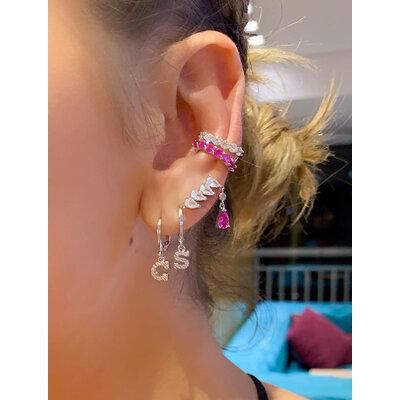 Brinco Ear Cuff Cristal com Gota Caida Prata925 (Escolha a cor)