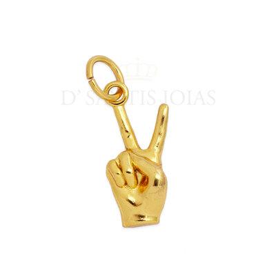 Pingente Peace and Love Hand ( mão paz e amor ) Ouro