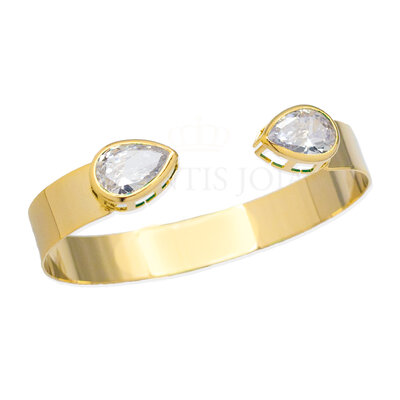 Bracelete Liso com Gotas Cristais Ajustavel Ouro18k