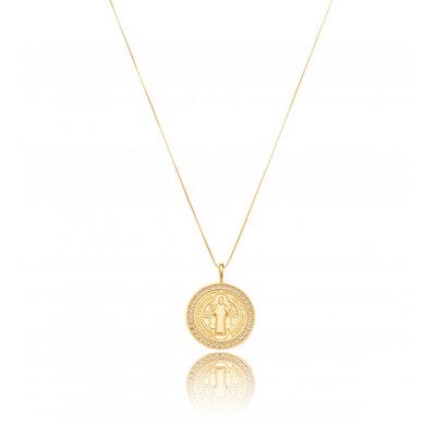 Colar Medalha São Bento Cravejada Ouro18k