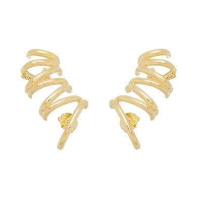 brinco Ear cuff Linhas Ouro18k