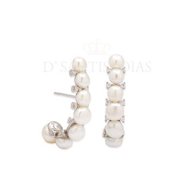 Brinco Ear Hook Perolas com Pontos de Luz Prata925
