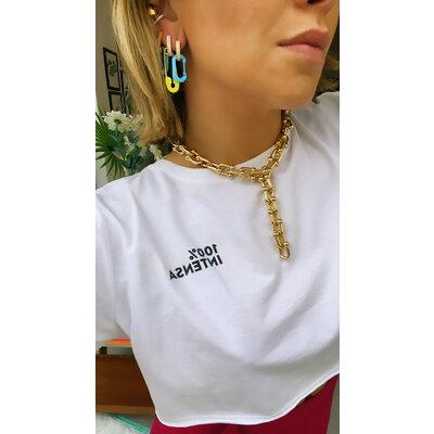 Brinco Chiara Mosquetao Azul Fosco Ouro18k