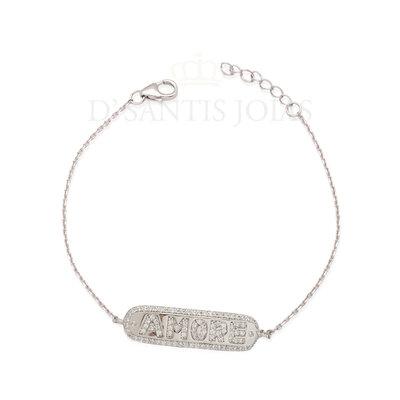 Pulseira placa Amore prata925 ouro branco18k