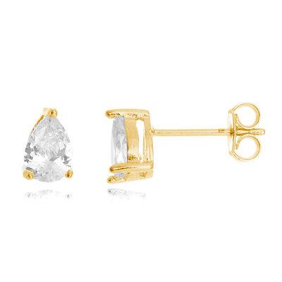 Brinco Gota Cristal 1cm Ouro