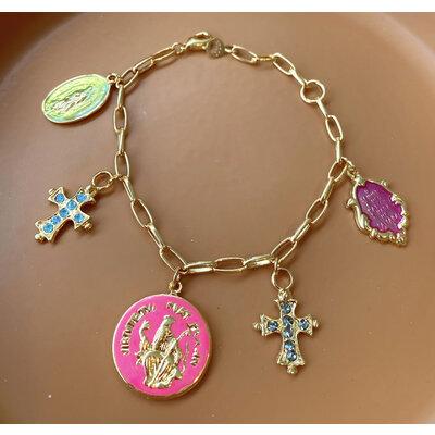 Pulseira Medalhas Religiosas Esmaltadas Ouro18k