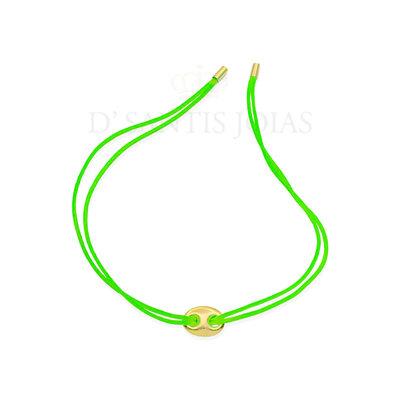 Pulseira Fio de Seda Verde Neon com mini Sodacap Ouro
