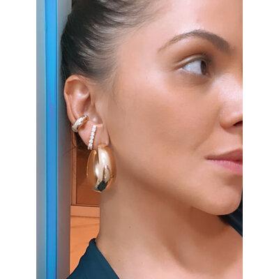 Brinco Ear Hook Solitarios Cristais Ouro18k