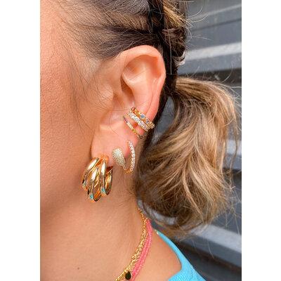 Piercing e Ear Hook Cravejado Rainbow Ouro18k
