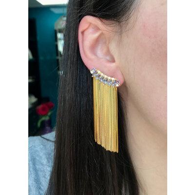Brinco Ear Cuff Navetes Ametista com Franjas Ouro18k