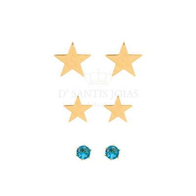 Trio de Brincos Estrela e Ponto Blue Ouro18k (escolha)