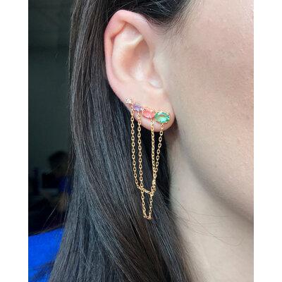 Brinco Ear Cuff Ovais Colors com Fios Ouro