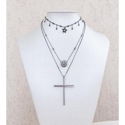 Colar Crucifixo CLASSICO rodio negro com Zirconias Brancas