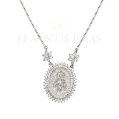 Colar Medalha Nossa Senhora das Graças Media prata925