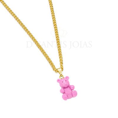 Colar Grumet Urso Teddy Rosa Ouro18k