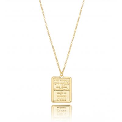 ColarLongo Medalha PlacaPai Nosso banho de ouro 18k