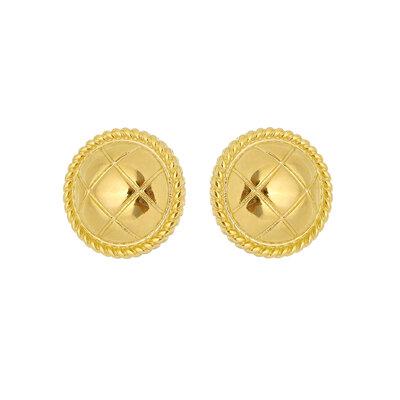 Brinco Botao Textura Metalasse Ouro18k