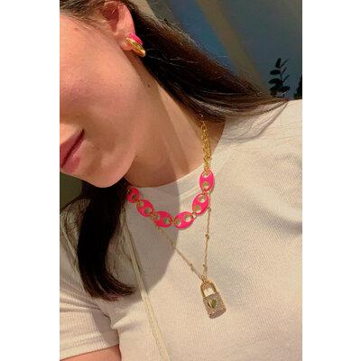 Colar/ Choker SODACAP Pink Neon Ouro18k