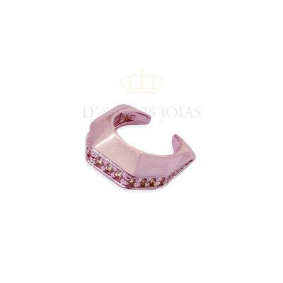 Piercing de pressao HB metalizado Rosa cravejado branco