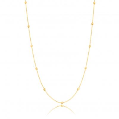 Colar Longo Bolinhas Diamantadas Ouro18k