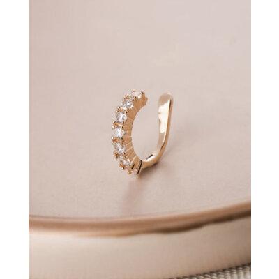 Piercing cravejado solitarios prata925 Ouro18k