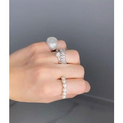 Anel Pérolas classico prata925 ouro branco18k