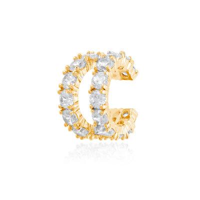 Piercing Duplo duas fileiras com zirconias Cravejadas Prata925 ouro 18k