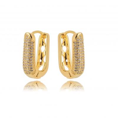 Argola Bold Classica cravejada em micro zircônios ouro18k