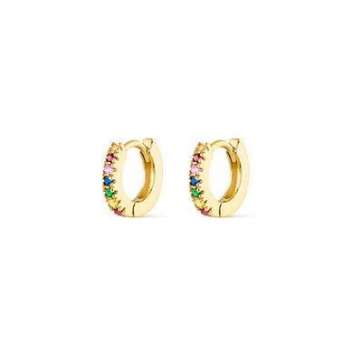 Argola Rainbow Pequena Prata925 Ouro18k