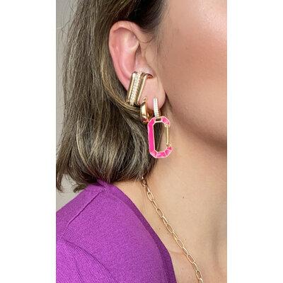Brinco ear hook encaixe cravejado Ouro (unitario)