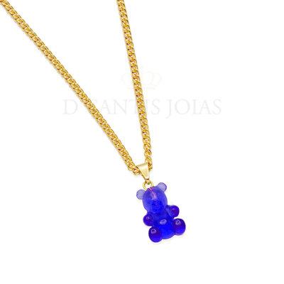Colar Grumet Urso Teddy Goma Azul Royal Ouro18k