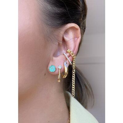 Ear Hook pressão Cravejado Ouro18k Prata925