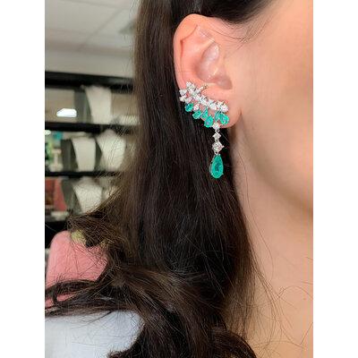 Brinco Ear Cuff Esmeralda Colombiana Prata925