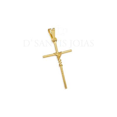 Pingente Cruz com Arame Ouro18k