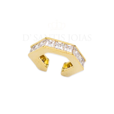 Piercing Hexagonal Baguetes Cristais Ouro18k