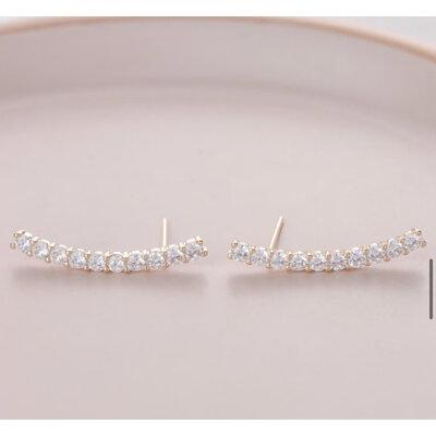 Brinco Ear cuff Palito solitarios 3mm prata925 ouro18k