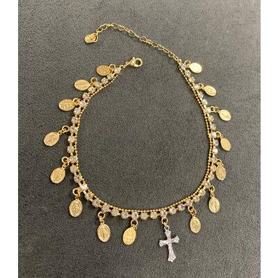 Tornozeleira Cravejada com Medalhas Nossa Senhora e Crucifixo Ouro