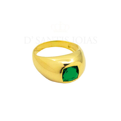 Anel com zirconia Esmeralda Ouro18k