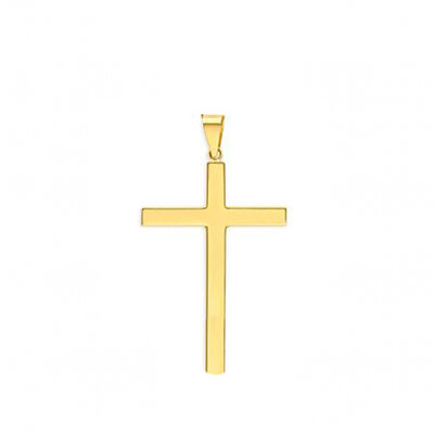 Pingente Cruz Lisa Grande Ouro18k
