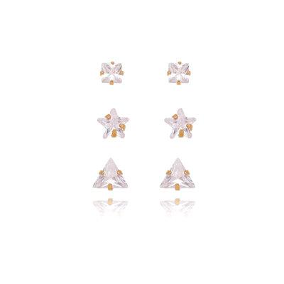 Trio Brinco Triangulo Quadrado Estrela Ouro18k