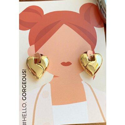 Argola Coracao shape liso ouro18k