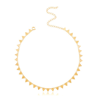 Colar e Choker Triangulos ( spike ) shine Boho Ouro18k