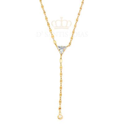 Colar Gravata Triangulo Cristal Ouro18k