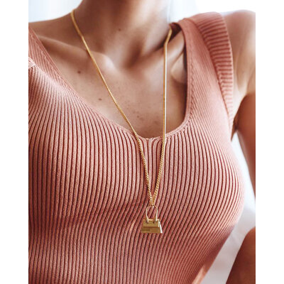 Colar Longo Grumet Bolsa Fashion Ouro18k