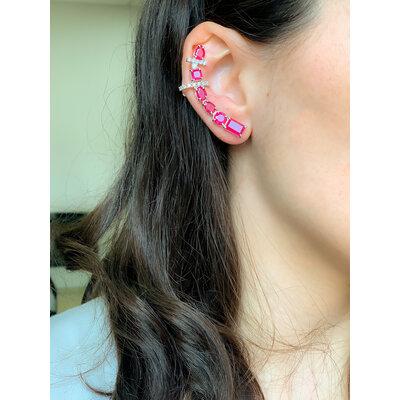 Brinco Luxo Ear Cuff Rubi Prata925