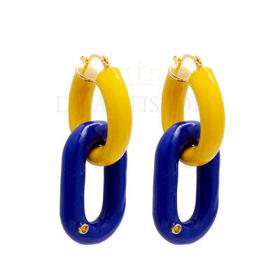Argola Tubo Mostarda com Pingente Azul Royal Esmaltado Ouro