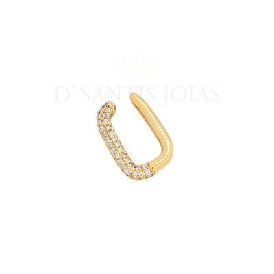 brinco Ear hook Cravejado de pressao Ouro