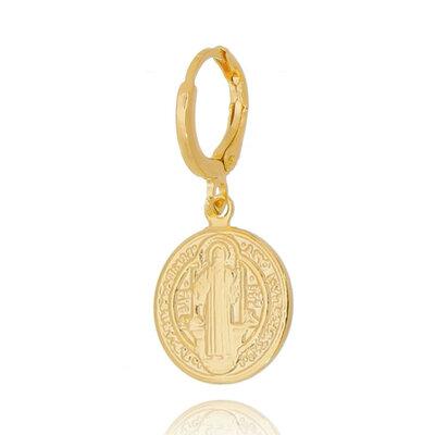 Argola e Pingente Sao Bento 2cm Ouro18k (unitario)